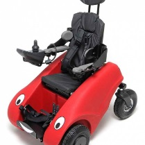Red buggy with eyes that shows materials used for rotational moulding