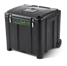 large black plastic container on wheels made by rotational moulding